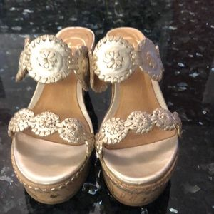 Jack Rogers gold wedges